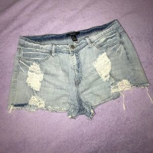 2/$18 Light Wash High Rise Distressed Mom Shorts